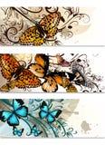 Визитные карточки установили с бабочками и флористическим орнаментом иллюстрация штока