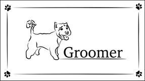 Визитные карточки шаблона для groomer Иллюстрация чертежа руки вектор Стоковая Фотография