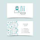 Визитные карточки для зубоврачебной клиники Выдвиженческие продукты Линия значки Плоский дизайн вектор Стоковая Фотография RF