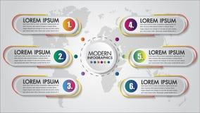 Визуализирование коммерческих информаций концепции шагов диаграммы 6 Infographics творческое Технологическая карта операций Совре иллюстрация вектора