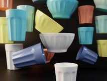 Визуализирование комплекта покрашенной иллюстрации блюд 3D стоковое изображение rf