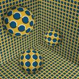 Визуальная иллюстрация иллюзии 3 шарика двигают дальше в желтый голубой расширяя угол иллюстрация штока