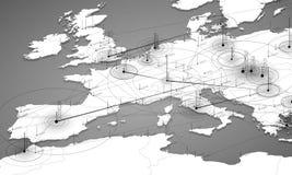 Визуализирование данным по карты серой шкалы Европы большое Футуристическая карта infographic Эстетика информации Визуальная слож Стоковое Изображение