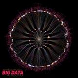 Визуализирование больших данных круглое Футуристическое infographic Дизайн информации астетический Визуальная сложность данных Стоковое Изображение