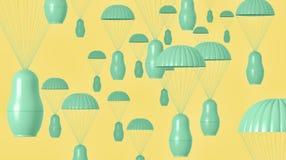 Визуализирование парашютистов куклы вложенности Стоковое Изображение RF