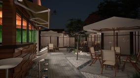 визуализирование 3D дизайна интерьера бара пляжа Стоковая Фотография RF