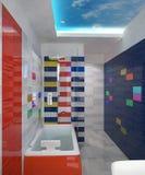 визуализирование 3D дизайна интерьера ванной комнаты Стоковая Фотография RF