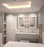 визуализирование 3D дизайна интерьера ванной комнаты Стоковые Фото