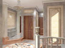 визуализирование 3D дизайна интерьера вестибюля Стоковые Изображения RF