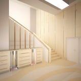 визуализирование 3D дизайна интерьера вестибюля Стоковое Изображение RF
