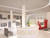 визуализирование 3D дизайна интерьера выставочного зала Стоковая Фотография RF