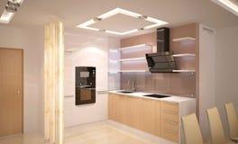 визуализирование 3D дизайна интерьера кухни Стоковые Фото