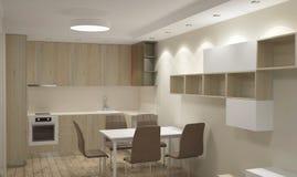 визуализирование 3D дизайна интерьера кухни Стоковое фото RF