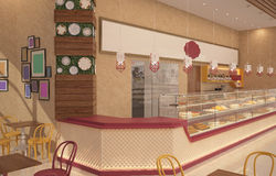 визуализирование 3D дизайна интерьера магазина печенья Стоковое фото RF