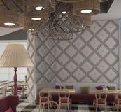 визуализирование 3D дизайна интерьера ресторана Стоковое фото RF