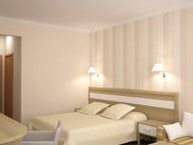 визуализирование 3D дизайна интерьера спальни гостиницы Стоковое Изображение RF