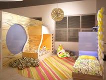 визуализирование 3D дизайна интерьера спальни ребенка Стоковое Изображение