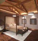 визуализирование 3D дизайна интерьера спальни Стоковая Фотография