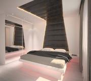 визуализирование 3D дизайна интерьера спальни Стоковое Изображение RF