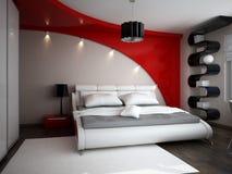 визуализирование 3D дизайна интерьера спальни Стоковая Фотография RF