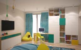 визуализирование 3D дизайна интерьера спальни Стоковое фото RF