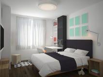 визуализирование 3D дизайна интерьера спальни Стоковые Изображения RF