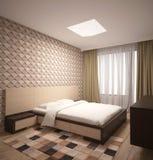 визуализирование 3D дизайна интерьера спальни Стоковое Изображение