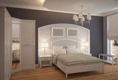 визуализирование 3D дизайна интерьера спальни Стоковые Фотографии RF