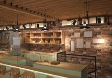 визуализирование 3D дизайна интерьера хлебопекарни Стоковые Фото