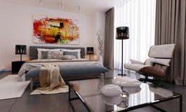 Визуализирование 3d спальни Modren иллюстрация вектора