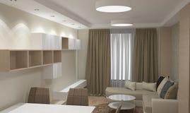 визуализирование 3D liviing дизайна интерьера комнаты Стоковая Фотография RF