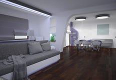 визуализирование 3D liviing дизайна интерьера комнаты Стоковое Изображение RF