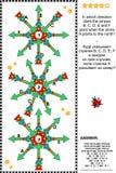 Визуальная головоломка логики - направления карты компаса Стоковое Изображение