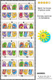 Визуальная головоломка - соответствуйте половинам - красочные кувырки Стоковая Фотография RF