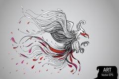 Визуальная линия искусство птицы фантазии Стоковая Фотография