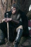 Викинг в мехе сидя около дерева стоковые изображения