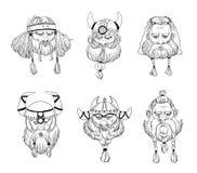Викинг, varangian, комплект головы ратников Нарисованное рукой черно-белое собрание портретов Стоковые Фото