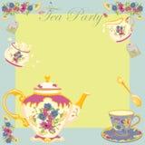 викторианец чая партии приглашения Стоковое Изображение RF
