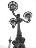 Викторианский уличный фонарь и столбец Нельсона в квадрате Trafalgar, l Стоковая Фотография RF