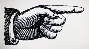 Викторианское ретро винтажное право знака пункта руки иллюстрация штока