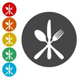 Вилка десерта, нож, значок знака чайной ложки Символ собрания столового прибора установленный иллюстрация штока