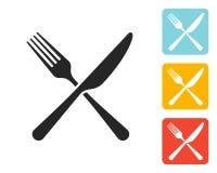 Вилка значка и знак ножа бесплатная иллюстрация