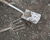 Вилка и лопата Стоковое Изображение