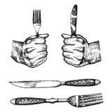 Вилка и нож в руках обжаты комплект вектора столового прибора эскизов иллюстрация штока