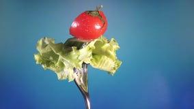 Вилка с свежими томатом и огурцом отрезка красного цвета в капельках воды и салата поворачивает голубую предпосылку видеоматериал