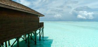 Вилла воды Мальдивыы Стоковая Фотография