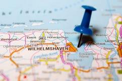 Вильгельмсхафен на карте Стоковые Изображения