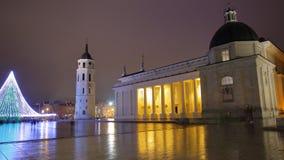 ВИЛЬНЮС, ЛИТВА: Квадрат собора к ноча Стоковые Фото