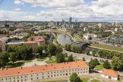 Вильнюс, Литва - 19-ое июля 2016: Городок панорамы moderne Вильнюса Стоковые Изображения RF