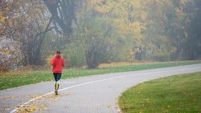 ВИЛЬНЮС, ЛИТВА - 21-ОЕ ОКТЯБРЯ 2018: Женщина бежать в утре через туманный парк города стоковые изображения rf